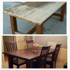 I actually did something I pinned! Refinished Pottery Barn table - 2 coats Minwax Dark Walnut stain & 3 coats briwax