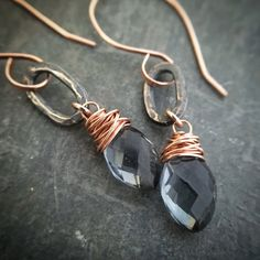 Beautiful Faceted Gray Quartz briolettes, skillfully wrapped in 14k rose gold filled wire and suspended from hammered, oxidized Sterling Silver Ovals and 14k rose gold filled French ear wires. ꕥ Earrings are 1.5 (38cm) long ꕥ Pearl Chalcedony drops are 12mm  ↟ Shop for more at thenoblepine.etsy.com