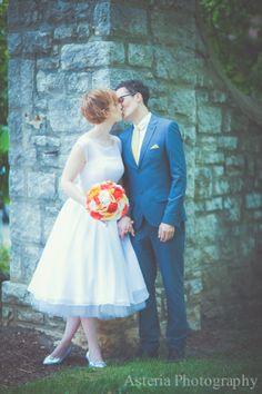 vintage wedding dress, bride, groom, kiss, wedding ideas, love, vintage, columbus ohio wedding photography, german village, schiller park, marriage, wedding  www.facebook.com/asteriaphotography