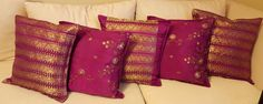 Coordinated set of 5 purple and gold silk cushion covers, pillow covers, sofa cushion covers 16 inches X 16 inches (40 cm x 40 cm) by KalaaStudio on Etsy