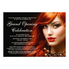 beauty or hair salon grand opening invitations