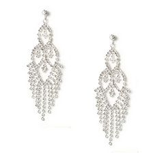 Rhinestone Marquis and Diamond with Fringe Drop Earrings