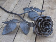 Metal rose Steel rose Iron flower Hand by SiberianWroughtIron