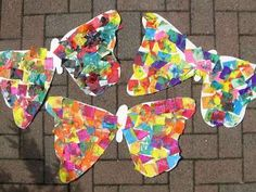 Use tissue paper, coloured paper, scraps of magazines and newspapers, or any other materials you have lying around to create these Eric Carle-inspired butterflies. The brighter the better! The Very Hungry Caterpillar Activities, Caterpillar Art, Hungry Caterpillar Party, Caterpillar Preschool, Butterfly Crafts, Butterfly Art, Butterfly Project, Paper Butterflies, Butterfly Painting