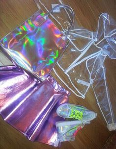 Shop from the best fashion sites and get inspiration from the latest holographic. Fashion discovery and shopping in one place at Wheretoget. Girls Fashion Clothes, Teen Fashion Outfits, Rave Outfits, Girl Fashion, Kawaii Fashion, Cute Girl Outfits, Cute Casual Outfits, Holographic Fashion, Holographic Jacket