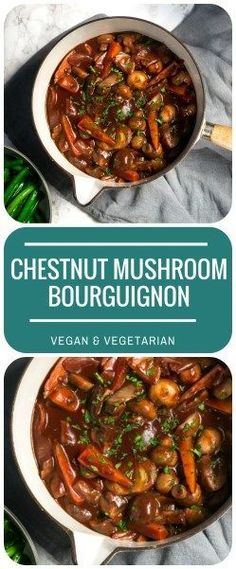 Chestnut Mushroom Bourguignon | Vegan & Vegetarian - a hearty comfort food supper, with juicy mushrooms in a rich, glossy red wine gravy.