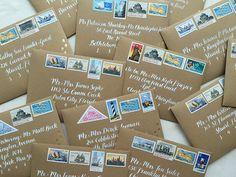 White Calligraphy On Kraft Envelope / Vintage Nautical Stamps / Gold ...