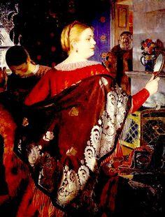 The Merchant's Wife with Mirror, by Russian painter Boris Kustodiev – Russian Folk, Russian Art, Tom Lovell, Decoupage, Russian Literature, Tribal Women, Vanitas, Modern Art, Wool