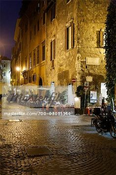 Street Scene at Night, Rome, Italy Stock Photo - Rights-Managed, Image code…