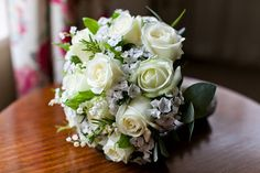Flower Design Events: White Roses, Lily of the Valley & Sweet William Wedding Bouquet