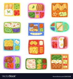 Lunch box vector school lunchbox with healthy food vegetables or fruits boxed in kids container illustration set of packed meal sausages or bread isolated on white background , snacks without oven Warm Potato Salads, Pumpkin Drinks, Vegetable Boxes, School Lunch Box, School Kids, Cute Food Art, Chicken And Vegetables, Healthy Vegetables, Fruit Box