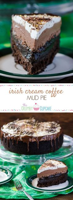 IRISH CREAM COFFEE MUD PIE Chocolate cookie crust, a flourless chocolate whiskey cake, a layer of chocolate espresso pudding, an Irish cream chocolate mousse, topped off with a sweet whipped cream - it's a chocoholic's dream! Flourless Chocolate, Chocolate Desserts, Fun Desserts, Delicious Desserts, Cake Chocolate, Chocolate Coffee, Irish Desserts, Gourmet Desserts, Plated Desserts