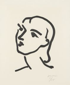 HENRI MATISSE Nadia aux cheveux lisses, 1948  Aquatint, on Marais paper, the full sheet (deckle on all sides), I. 17 x 13 3/4 in. (43.2 x 34.9 cm); S. 26 x 19 7/8 in. (66 x 50.5 cm)