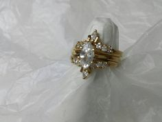 Avon Gold tone Marquis 3  Ring wedding set size 9  mint condition