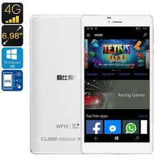 Cube WP10 4G Windows Phablet - Licensed Windows 10, 6.98-Inch ,4G, 2GB RAM, 128GB External Memory