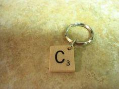 scrabble letter. keychain.
