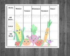 Daycare menu template Weekly menu template by Raising3Cains