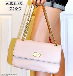 a383a14faaee MICHAEL KORS Ballet Pink Leather Handbag Small Flap Shoulder Bag NWT  $228.00 #fashion #clothing