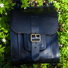 Black leather backpack with white stitching 15.6 inch handmade