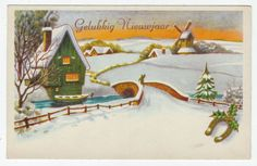 Postcards - Greetings & Congrads #  576 - Happy New Year - Winter Scene