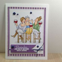 Wine Tasters Set (Sku Art Impressions Girlfriends line. Funny Greeting Cards, Funny Cards, 3d Cards, Cool Cards, Art Impressions Stamps, Hampton Art, Cards For Friends, Copics, Homemade Cards
