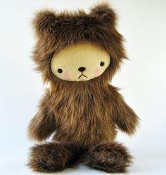 Kawaii Teddy Bear Plushie Mocha Brown Faux Fur Large by bijoukitty, $39.00