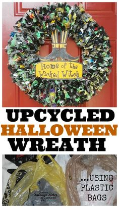 Upcycled Plastic Bag Halloween Wreath - Salvage Sister and Mister Fall Halloween, Halloween Crafts, Halloween 2019, Thanksgiving Decorations, Halloween Decorations, Diy Wreath, Wreaths, Wreath Ideas, Diy Craft Projects