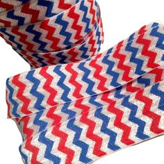 """4th of July red, white & blue chevron printed 7/8"""" fold over elastic FOE"""