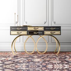 Contemporary Black and Gold Console Table