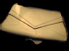 Cream off white fold over angled clutch vegan clutch bag. MANY in stock at super low prices. etsy shop:  VintageAngeline