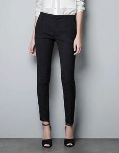 Zara black jacquard skinny trousers with gold ankle zips