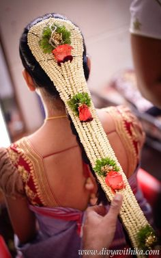 www.sameepam.com   This traditional south Indian jade hair piece was created for our bride on her wedding day.