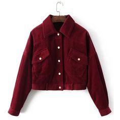 SheIn(sheinside) Flap Pocket Corduroy Western Jacket ($42) ❤ liked on Polyvore featuring outerwear, jackets, burgundy, lapel jacket, corduroy jacket, short jacket, single breasted jacket and cowboys jacket