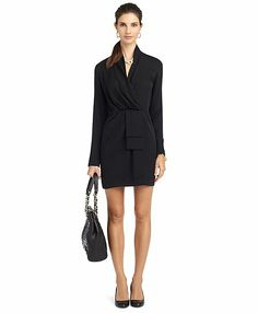 """Brooks Brothers. Silk Pullover little black dress (LBD) is unlined and crafted from silk and a bit of silk spandex for comfort. Length: 34½"""""""