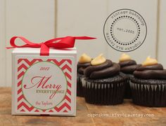 12 - Personalized Holiday Party Favor Cupcake Mix - Merry Label Design - Christmas Party Favor, Holiday Party Favor, cupcake mix favor
