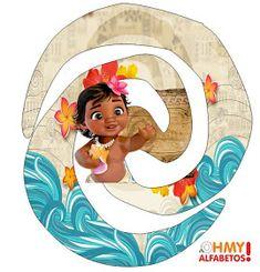 Bello Alfabeto de Moana Bebé. Barney Birthday Party, Moana Birthday Party, Moana Party, Baby Birthday, Birthday Parties, Princess Moana, Disney Princess, Festa Moana Baby, Tropical Tattoo