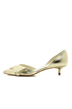 A fabulously illuminated classic platinum kitten heel with a twist of modern detail. These will go with any evening outfit you have while also allowing for comfort.   Darren Heel by Something Bleu. Shoes - Pumps & Heels - Low Heel New Hampshire