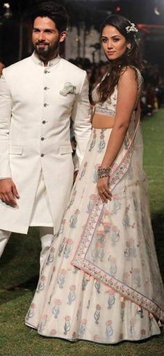 Shahid & Mira Kapoor walk the runway for designer Anita Dongre at Lakme Fashion Week 2018 Engagement Dress For Groom, Couple Wedding Dress, Wedding Outfits For Groom, Summer Wedding Outfits, Men's Wedding Wear, Indian Engagement Outfit, Wedding Prep, Farm Wedding, Wedding Couples