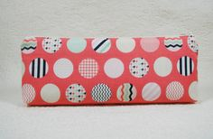 Coral Trendsetter Dots Long Zipper Pouch Long Zipper Pouch Pencil Pouch by Hot4Handbags
