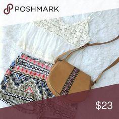 Lace Boho Top Boho lace tank top with knitted top half Tops Crop Tops
