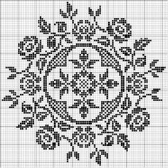 Wonderful rose filet crochet chart - could also be used for cross stitch: Filet Crochet Charts, Knitting Charts, Cross Stitch Charts, Cross Stitch Designs, Cross Stitch Patterns, Blackwork, Cross Stitching, Cross Stitch Embroidery, Embroidery Patterns