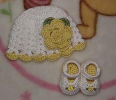 Baby Girl Crochet Hat & Mary Jane Shoes  by TJsCrochetCreations