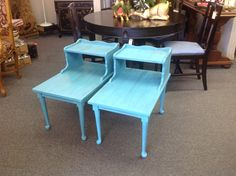 Milk paint on this pair of end tables.         Reliks.net