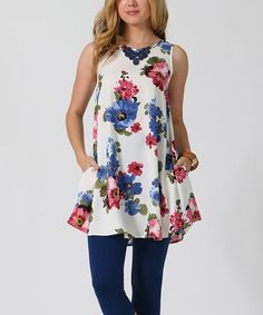 Loving this Ivory Floral Sleeveless Tunic on #zulily! #zulilyfinds