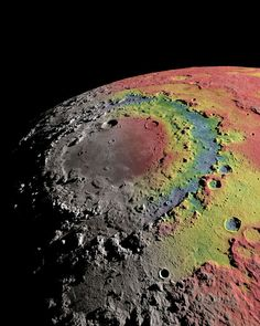The bull's-eye-shaped Orientale basin is one of the largest and youngest craters on the moon. The biggest of the three concentric rings of rock around the crater's center measures about 580 miles (930 kilometers) in diameter. The colors in this image represent the strength of the moon's gravity field. Areas shaded in red have higher gravity, while areas in blue have the least gravity. Credit: Ernest Wright, NASA/GSFC Scientific Visualization Studio