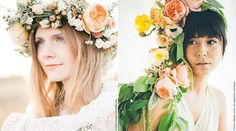 "Blog_HeadsBlooming_3Queen Me… ""Florally""  In this royal-floral crown, light tea-scented Juliet is showing almost all 90 of its petals. The blending of Juliet's peach flesh tone and soft orange hypericum glows against this blushing bride's skin!"