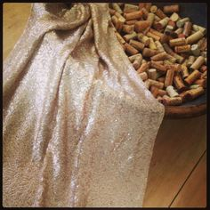 Blush Champagne Sequin Table Runners, Metallic, Overlays, Tablecloths. 1 DAY SHIP ASAP