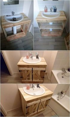 Unlimited Ideas with Old Shipping Wood Pallets is part of Pallet bathroom As you would be making the search around over the old shipping wood pallet projects, you would be probably be finding enchan - Pallet Bathroom, Diy Bathroom Vanity, Bathroom Furniture, Bathroom Storage, Small Bathroom, Bathroom Ideas, Pedestal Sink Storage, Bathroom Wall, Outhouse Bathroom