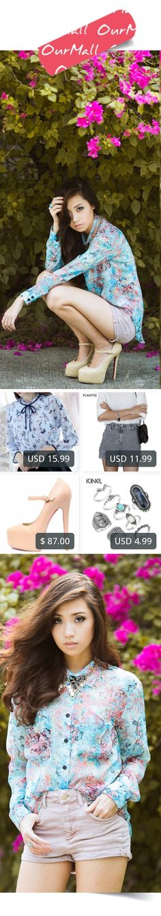 This is Kryz Uy's buyer show in OurMall;  1.Floral Blouses 2017 Spring Summer Long Sleeve Shirt Women Chiffon Blouse Ruffle Bow 2.Gray Denim Shorts Womens All-Match Washed Female Straight Shorts 2017 Spring Summer Solid 3.Light Pink 160mm Daffodile Leather Pump 4.Pcs/Set... please click the picture for detail. http://ourmall.com/?267FRf #shirt #blackshirt #whiteshirt #elegantshirt #stripedshirt #plaidshirt #bandshirt #flareshirt #chiffonshirt #shirtforwomen #shirtforgirls