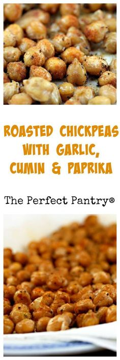 Roasted chickpeas with garlic, cumin & paprika: A tasty appetizer or snack, from The Perfect Pantry. Chickpea Recipes, Vegetarian Recipes, Healthy Recipes, Diabetic Recipes, Vegan Snacks, Healthy Snacks, Healthy Eating, Yummy Appetizers, Appetizer Recipes